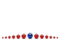 Red christmas balls and blue in centre with place for text