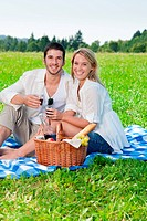 Picnic young happy couple celebrating with wine