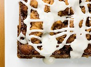 Cinnamon Bun Coffee Cake with Sugar Icing, From Above