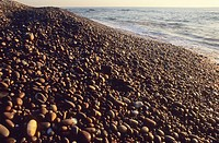 Beach of pebbles, Belinho beach, Parque Natural do Litoral Norte, Portugal