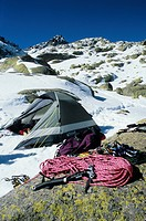 Climbing equipment dry at sun near from a campsite in mountains, Almanzor, Circo de Gredos, Spain