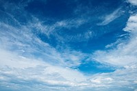 White clouds against the blue sky in the summer