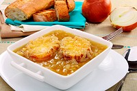 Onion soup with croutons.