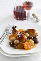 Chicken legs with chestnuts and apricots