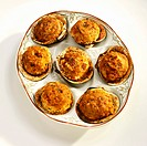 Stuffed Clams on a Dish, From Above