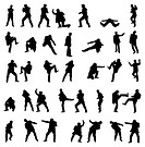 Silhouettes of the fighting men _ set.