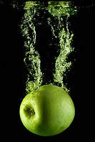 Green apple and bubbles.