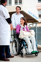 Disabled person in front of the Department of Physical Medicine and Rehabilitation hospital Reyberol, Limoges, France.