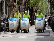 Street sweepers. Barcelona, Catalonia, Spain.