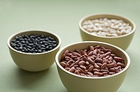 Assorted dried common beans in bowls
