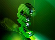 Shiny green 3d British pound sign
