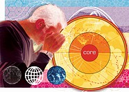 Man peering into core of globe