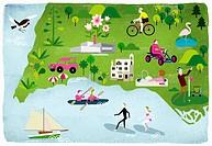 Montage of people enjoying summer leisure activities