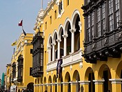 Peru  Lima city  Traditional architecture Plaza de Armas and the Town Hall