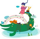 Crocodile and playing pipe girl (thumbnail)