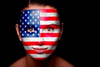 Portrait of a woman with the flag of the USA