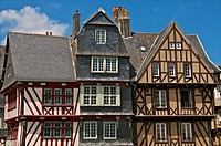 Medieval half timbered houses, old town, Morlaix 29, Finistere, Brittany, France