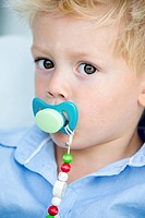 Germany, Portrait of boy with pacifier