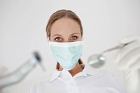Germany, Close up of dentist with surgical mask