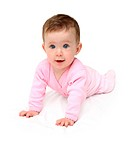 baby in pink on white sheet