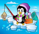 Cartoon fishing penguin