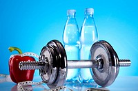 Dumbbell and bottle water