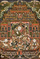 China, Gansu, Amdo, Xiahe, Monastery of Labrang Labuleng Si, Medical College, Painting of Dhritarashtra, guardian king of the east