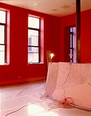 Red family room under construction