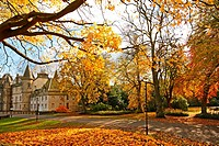 Callendar House in wonderful autumnal park of Falkirk, Scotland