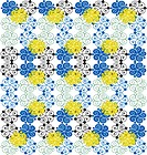 A blue, yellow, green, and black pattern on white