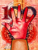A man´s face on a hand and in the background is money