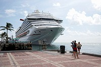 carnival freedom cruise ship moored off mallory square key west florida usa