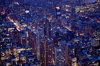 Nighttime view of lower Manhattan from Empire State building