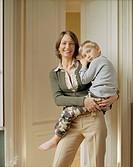 Knitwear designer Uberta Zambeletti with her son