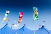 Festival tent top and coloured flags