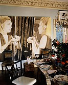 Large Painting on Wall in Dining Room