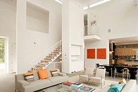 Modern Great Room with High Ceiling