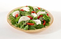 Arugula salad with roasted peppers and mozzarella