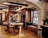 Traditional kitchen with large island