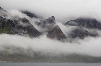 Mountains in fog, Prince Christian Sound, Greenland