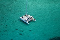 Catamaran, Mamanuca Islands, Fiji, South Pacific, aerial