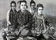 Burmese ladies  Fifteen days in Burma, Travel of M  E  Cavaglion, 1892  Burma  Republic of the Union of Myanmar.