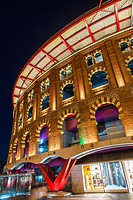 Night view of Las Arenas shopping centre, former bullfighting ring, Plaza de Espanya, Barcelona, Catalonia, Spain