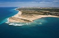 Trafalgar´s lighthouse, Caños de Meca, Zahora beach on the left and Caños´s duna on the right, El Palmar and Conil de la Frontera in the back  aerial ...