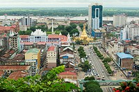 Perspective of Yangon downtown