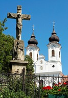 Benedictine abbey and crucifix in Tihany, Hungary