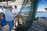Mobile, Alabama - A shrimp trawler on Mobile Bay  Jackie Schwartz left and Darrell Goleman mend a net they had to cut open to remove a log  The trawle...