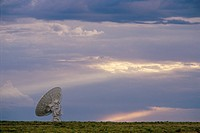VLA Very Large Array radio telescope dish alone in field