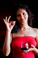 Indian happy girl with wine