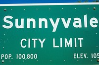 A sign that reads Sunnyvale city limit